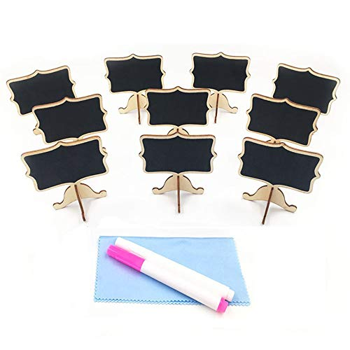 Mini Chalkboards, Wood Mini Chalkboard Signs Food Signs Place Cards Blackboard with Support Easel Chalk Pen Cleaning Cloth for Wedding, Birthday Parties and Event Decoration, Set of 10 by Huretek -