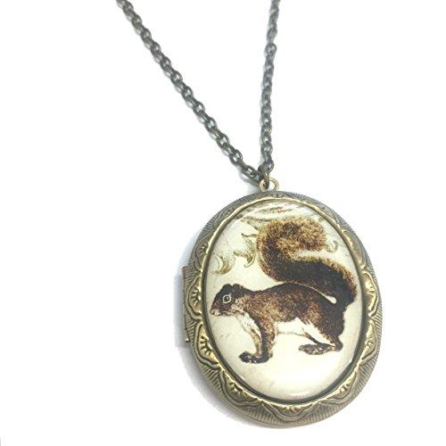 Vintage Style Squirrel Locket Necklace