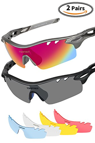 Sports Sunglasses 2 Pairs Polarized Sports Sunglasses with 4 Interchangeable Lenses, Tr90 Unbreakable Sunglasses for Men Women Cycling Driving Running Golf Sunglasses By Tsafrer (Black-Red-Blue - Questions Sunglasses