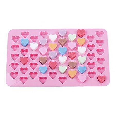 Hosaire 55 Hoyos Mini Silicona en Forma de corazón Molde de Pastel de Chocolate pudín de Caramelo Molde Molde para Hornear DIY: Amazon.es: Hogar