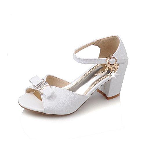 BalaMasa Womens Toggle Structured Peep-Toe Urethane Sandals ASL04955 White 6wFfR