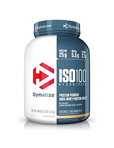 Dymatize ISO 100 Whey Protein Powder with 25g of Hydrolyzed 100% Whey Isolate, Gluten Free, Fast Digesting, Orange Dreamsicle, 3 Pound