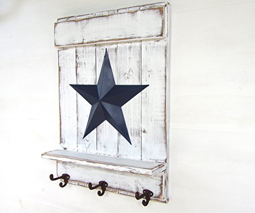 Wall Mount Coat Rack Distressed Wood Shelf Metal Barn Star Cast Iron Hook, Multiple - Iron Apple Cast Lodge