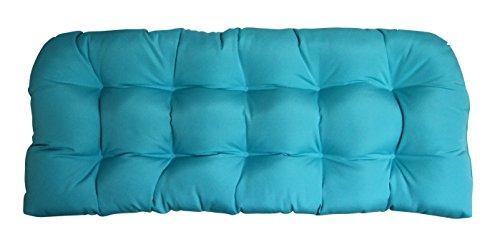 Sunbrella Canvas Aruba Wicker Love Seat Cushion - Indoor / Outdoor 1 Tufted Wicker Loveseat Settee Cushion ()