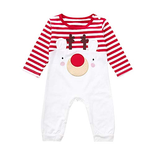 MODOQO Newborn Baby Clothes Long Sleeve Striped Romper Christmas Deer -