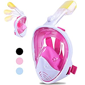 Greatever [2018 Newest Version] 180°View Panoramic Snorkel Set, Dry Top Set Anti-fog Anti-leak for Adults&Kids(pink, S/M)