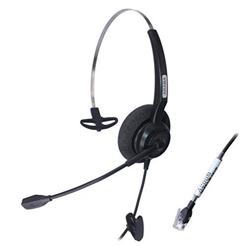 Price comparison product image Arama Wired Headset Mono w / Noise Canceling Mic for Aastra Adtran Alcatel Lucent Allworx AltiGen AVAYA Comdial Digium Gigaset InterTel Mitel MiVoice Plantronics Landline Deskphones (A200S1)