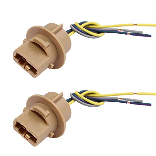 HUIQIAODS 7443 Sockets Female Adapter Wire Connector for Turn Signal/Reverse/Brake Light Bulbs Socket (Pack of 2)