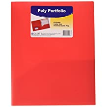 C-Line Two-Pocket Heavyweight Poly Portfolio, for Letter Size Papers, Includes Business Card Slot, 1 Portfolio, Red (33954)