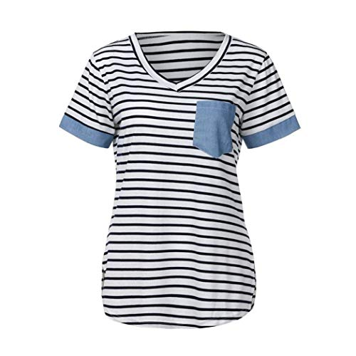 Courtes T Femme Shirts Tops Grau Manches Casual Tshirts Shirts Et Pinstripe Spcial Cou V Confortable Mode Elgante Branch Splicing Style rwq8tr