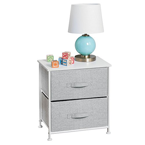 mDesign Fabric Baby 2-Drawer Dresser and Storage Organizer Unit for Nursery, Bedroom, Play Room - Gray by mDesign