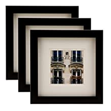 BorderTrends Nova 10x10/6x6-Inch Square Wall Frame, Black with White Mat (3-Pack)