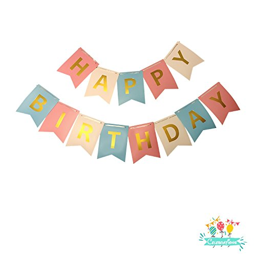 Birthday Banner Card (Reusable Happy Birthday Banner with Gold Foil Lettering on Colorful Cards)