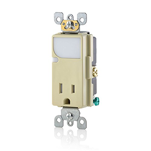Leviton T6525-I 15-Amp 125V AC Combination Decora Tamper Resistant Receptacle with LED Guide Light, Ivory