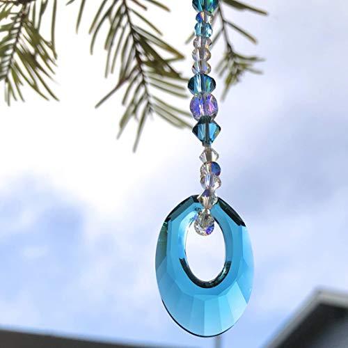 Swarovski Sun Catcher, Turquoise Blue, Window Mobile, Crystal Suncatcher, Rear View Mirror, Ornament, Yard Art, Car Decoration, 9094 from Judy Evans Collection