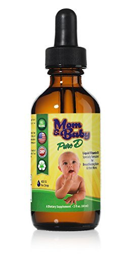Mom & Baby Pure Vitamin-D - Best Liquid Vit D Supplement - Perfect Potency Natural Vitamin D for Breastfeeding Babies – 400 IU Vitamin-D3 Per Drop - Best Absorption for all the family - 2oz bottle
