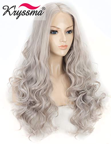 K'ryssma Christmas Ash Gray T4503 Synthetic Lace Front Wig Long Body Wave Half Hand Tied Heat Resistant Wavy Gray Hair Wigs for Women Daily Wear (22 inches)