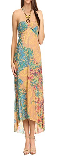 Beaded Halter Maxi Dress (Juccini Abstract Print Open Shoulder Beaded Halter Self-Bra Sexy Maxi Beach Dress In Loose Relaxed Style Summer Dress)