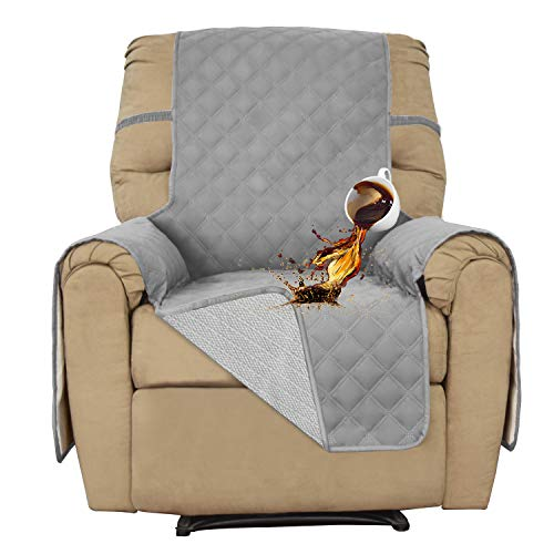 Recliner 100% Waterproof Sofa Slipcover Furniture Protector Sofa Shield Couch Slipcover Pets Covers Whole Fabric No Stitching Slip Resistant Non-slip fabric Pets Kids Children Dog Cat(Recliner, Gray)