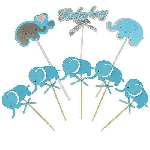23 PCS Cute Blue Baby Elephant Cake Cupcake Toppers for Birthday Wedding Baby Shower Decoration]()