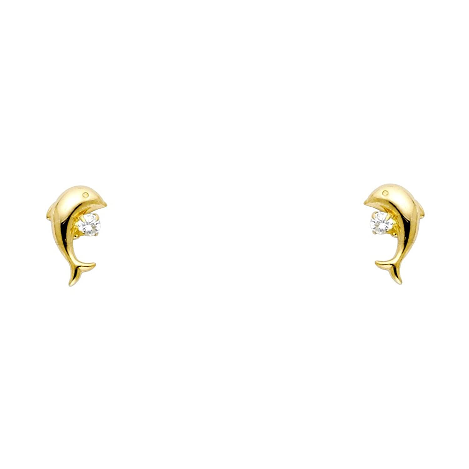 14k Yellow Gold Dolphin Stud with Screw Back – 2 Different Color Available