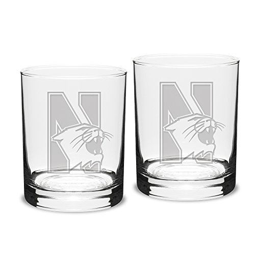 NCAA Northwestern Wildcats Adult Set of 2 - 14 oz Double Old Fashion Glasses Deep Etch Engraved, One Size, Clear