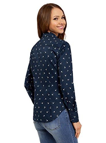 oodji Ultra Mujer Camisa Básica de Algodón Azul (7912Q)