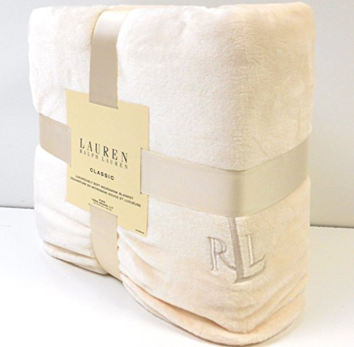 Ralph Lauren Classic Cream Micromink Throw Blanket Cream Monogram