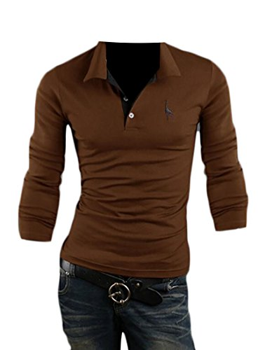 ouxiuli Men's Casual Loose Embroidered Long-sleeves Cotton Polo T-Shirt Coffee (State Farm Polo)