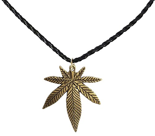 Diy Dark Angel Halloween Costumes (BDJ Antique Bronze Marijuana Pot Leaf Pendant P'leather Necklace 16