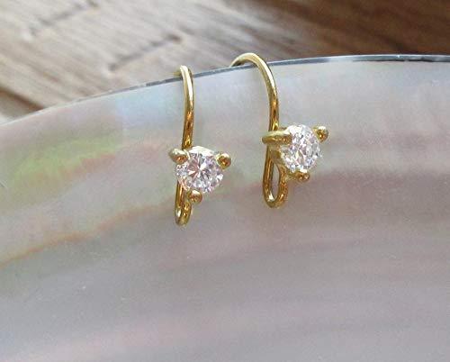18K Gold Sterling Silver 3.5mm Diamond CZ Ear Wire, Earrings Findings, Open Ring, 20x10mm, Hallmarked, EW-0115