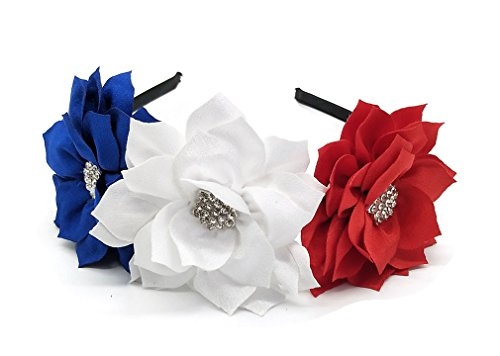 Coolwife Fascinator Headband Hair Clip Lotus Flower Bridal Headpieces Wedding Party Headwear (Flag Red White Blue) (Americas Best Event Photography)