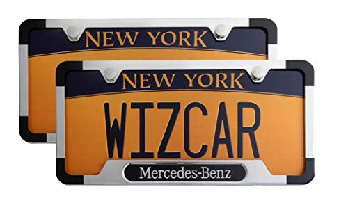 - WizCar 2 Pack Luxury Polished Stainless Steel License Plate Frame for Mercedes Benz