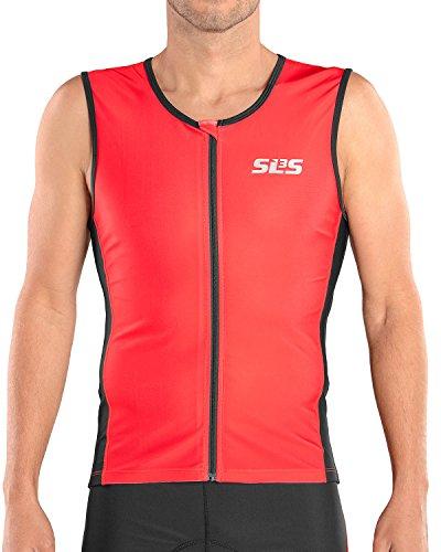 - SLS3 Triathlon Men`s FRT Tri Top   2 Pockets   Full Zipper   Jersey   Singlet   Tank   German Designed (Red/Black, S)