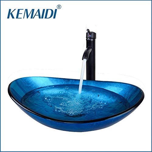 Davitu Basin Faucets - DE Bathroom Art Basin Hand-Paint Bathroom Glass Basin Vanity ORB Black Faucets Bathroom Tap Mixer Round Sink Faucet Bath Set