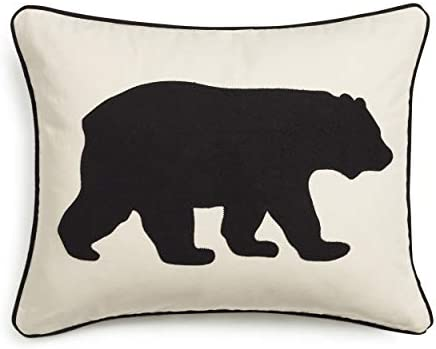 Eddie Bauer Home Collection 100 Cotton Twill Signature Bear Design Decorative Pillow, Zipper Closure, Easy Care Machine Washable, 16 x 20 , Black