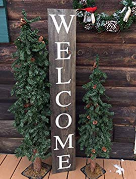 Xusmimo 61x13cm Welcome Sign Outdoors Porch Sign Rustic Handmade Handpainted Wood Signs for Home Decor Quote Garden Plaque Sign 805551
