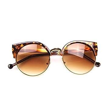 Moonar®Ojo de gato Retro Vintage redondas gafas de sol moda elegante borde semi Eyewear