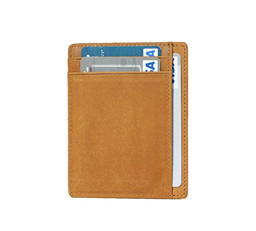 SERMAN BRANDS - Credit Card Holder RFID Blocking Leather Slim Wallet, Minimalist Front Pocket Wallets For Men Made From Full Grain Leather (Camel) by SERMAN BRANDS (Image #1)