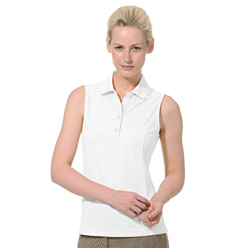 - Monterey Club Ladies Dry Swing Solid Lightweight Pique Sleeveless Polo #2064 (White, Medium)