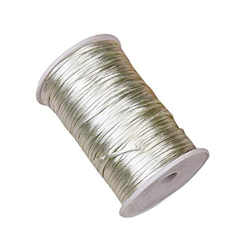 HLLbuy 2.5mm Dia 109Yd Ivory Satin Cord DIY Rattail Satin Nylon Trim Cord Chinese Knot -