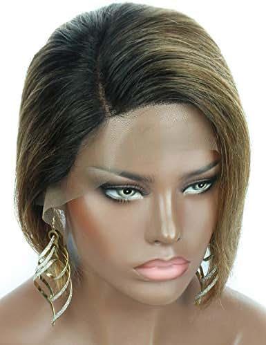 Beauart 100% Brazilian Remy Human Hair Lace Front Short Bob Pixie Cut Wigs for Black Women Ombre blonde 1B/27 Side Part Asymmetrical Frontal Lace Wig