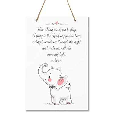 "LifeSong Milestones Elephant Wall Decor Decorations signs for Kids, Bedroom, Nursery, Hallways, Baby's Boys and Girls room, Toddlers size 8"" x 12"" Proudly Made in USA (Now I lay me down to sleep pink): Home & Kitchen"