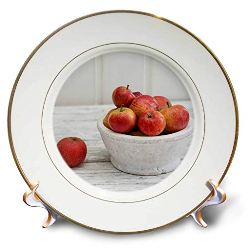 3dRose Andrea Haase Christmas Photography - Winterly Still Life Photography of Bowls with Red Apple Across White - 8 inch Porcelain Plate (cp_318590_1) ()