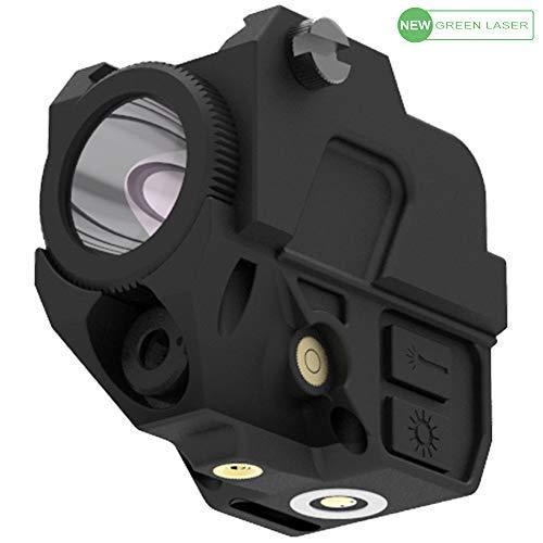 Laspur Tactical Sub Compact Rail Mount Green Dot Laser Sight with High Lumen CREE LED Flashlight Light Integrated Combo, Built-in USB Magnetic Touch Rechargeable Battery ()