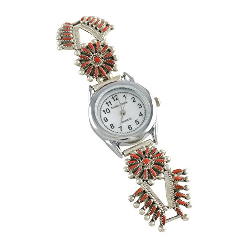 Vincent Johnson Sterling Silver Coral Needlepoint Ladies' Watch Zuni (Sterling Silver Zuni Needlepoint)
