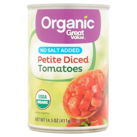 lue Organic Petite Diced Tomatoes, No Salt Added, 14.5 oz (Make Petit Fours)