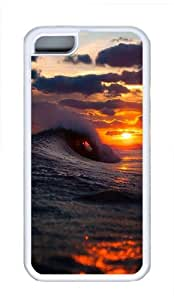 iPhone 5C Case Cover - Cool Surf Wave Sunset Cool TPU Case Cover Protector For iPhone 5C - White