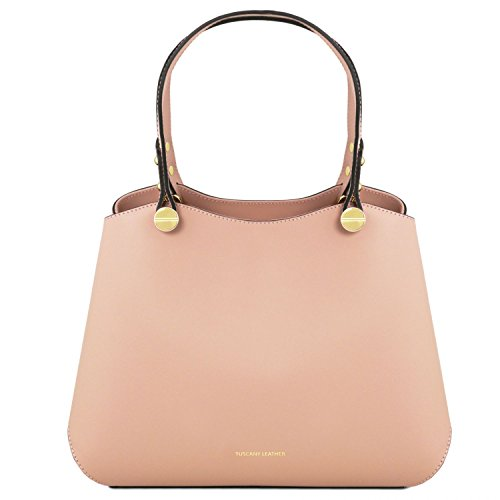 A Borsa Mano Pelle Leather Anna Blu Tuscany Scuro Nude In qtS6EHy