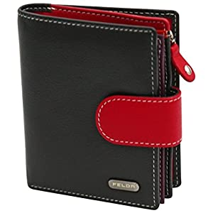 Felda Womens Genuine Soft Leather Clutch Wallet – RFID Protection – Black & Red